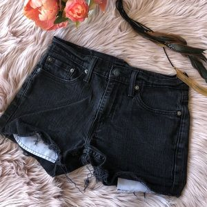 Black Distressed Shorts! By Levi
